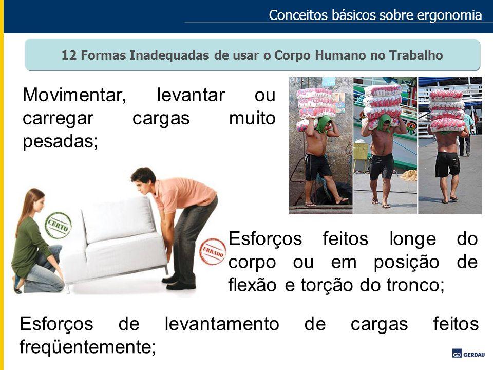 Conceitos básicos sobre ergonomia Movimentar, levantar ou carregar cargas muito pesadas; Esforços feitos longe do corpo ou em posição de flexão e torç