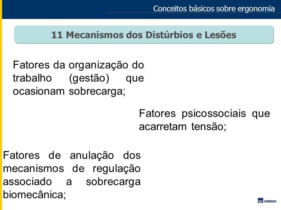 Conceitos básicos sobre ergonomia 11 Mecanismos dos Distúrbios e Lesões Fatores da organização do trabalho (gestão) que ocasionam sobrecarga; Fatores