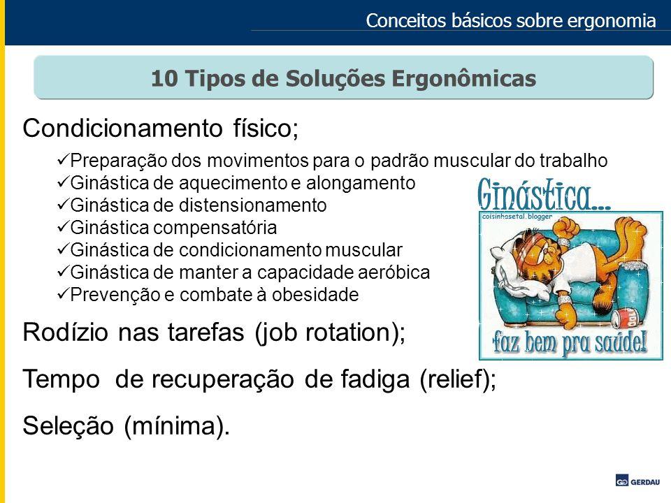 Conceitos básicos sobre ergonomia Condicionamento físico; Preparação dos movimentos para o padrão muscular do trabalho Ginástica de aquecimento e alon