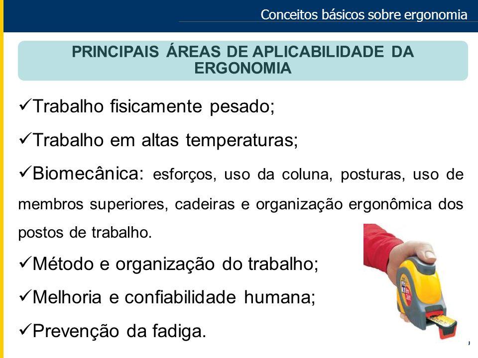 Conceitos básicos sobre ergonomia PRINCIPAIS ÁREAS DE APLICABILIDADE DA ERGONOMIA Trabalho fisicamente pesado; Trabalho em altas temperaturas; Biomecâ