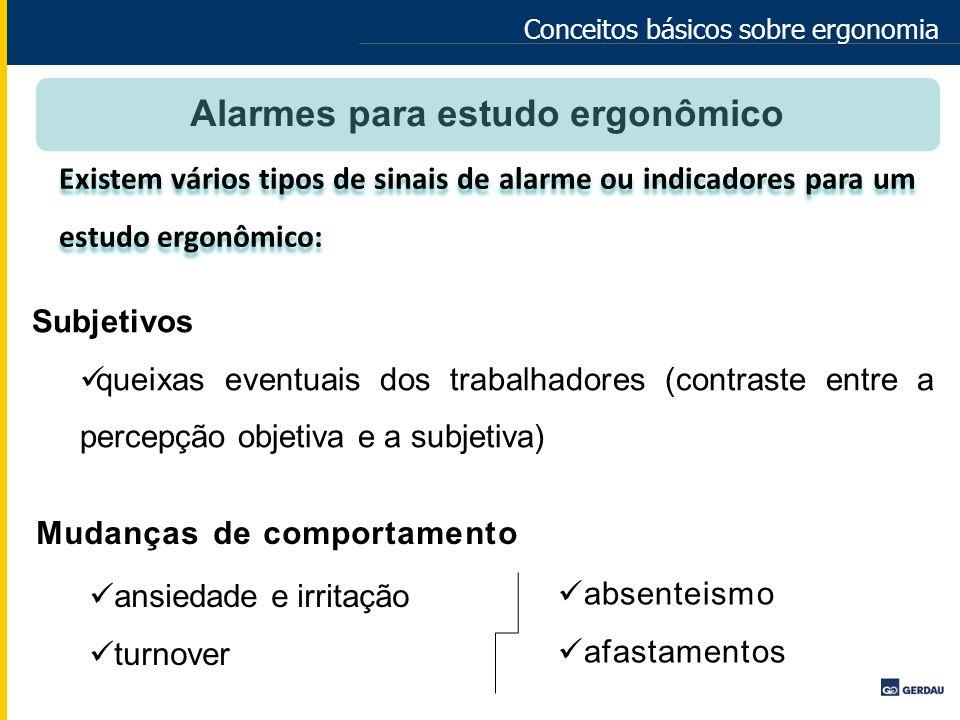 Conceitos básicos sobre ergonomia Alarmes para estudo ergonômico Subjetivos queixas eventuais dos trabalhadores (contraste entre a percepção objetiva