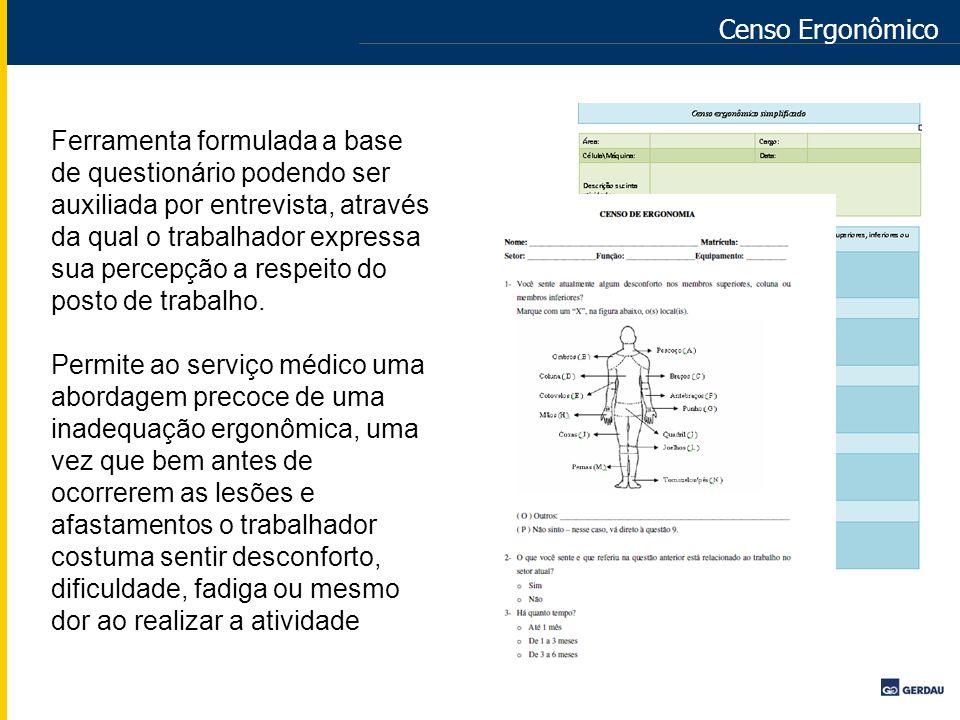 Censo Ergonômico Ferramenta formulada a base de questionário podendo ser auxiliada por entrevista, através da qual o trabalhador expressa sua percepçã