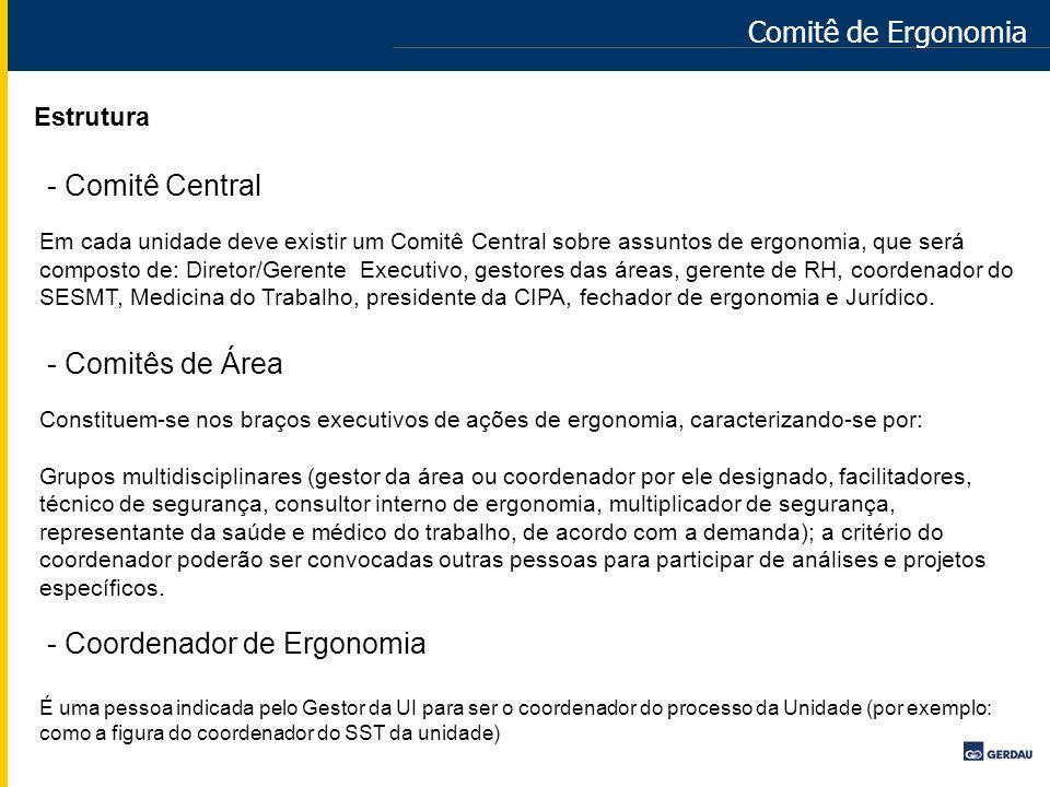 Comitê de Ergonomia Estrutura - Comitê Central Em cada unidade deve existir um Comitê Central sobre assuntos de ergonomia, que será composto de: Diret