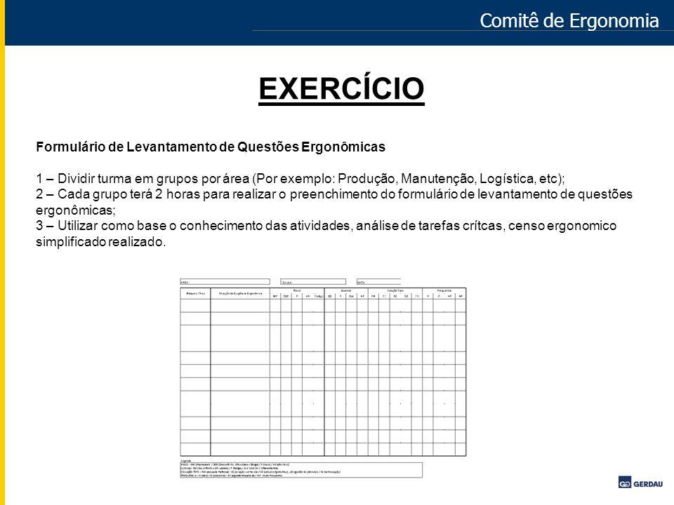 Comitê de Ergonomia EXERCÍCIO Formulário de Levantamento de Questões Ergonômicas 1 – Dividir turma em grupos por área (Por exemplo: Produção, Manutenç