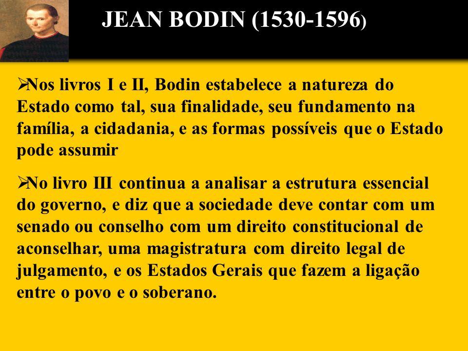 Nos livros I e II, Bodin estabelece a natureza do Estado como tal, sua finalidade, seu fundamento na família, a cidadania, e as formas possíveis que o