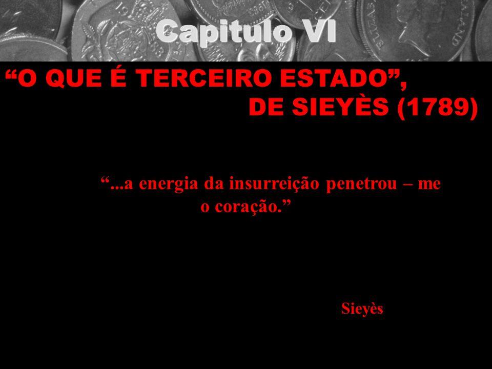 Capitulo VI O QUE É TERCEIRO ESTADO, DE SIEYÈS (1789)...a energia da insurreição penetrou – me o coração. Sieyès
