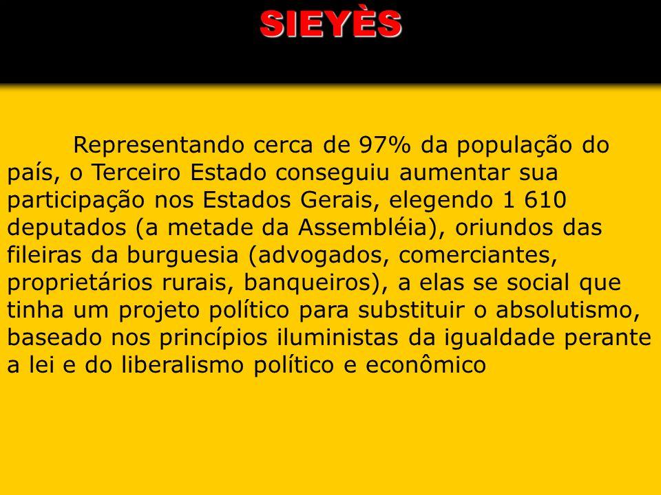 SIEYÈS Representando cerca de 97% da população do país, o Terceiro Estado conseguiu aumentar sua participação nos Estados Gerais, elegendo 1 610 deput