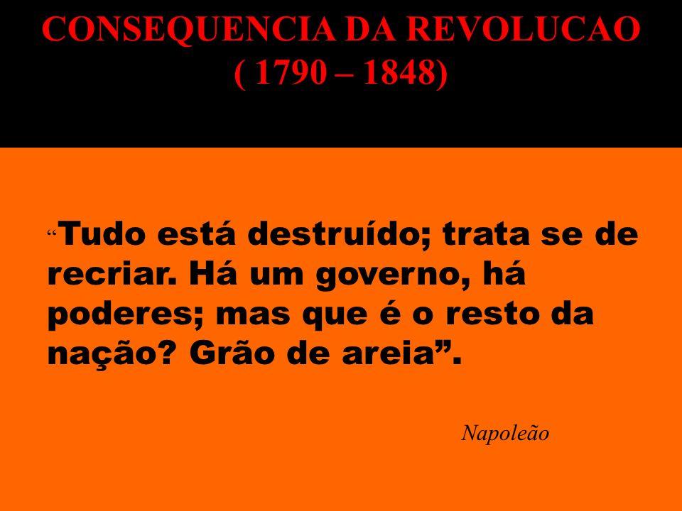 Tudo está destruído; trata se de recriar. Há um governo, há poderes; mas que é o resto da nação? Grão de areia. Napoleão CONSEQUENCIA DA REVOLUCAO ( 1