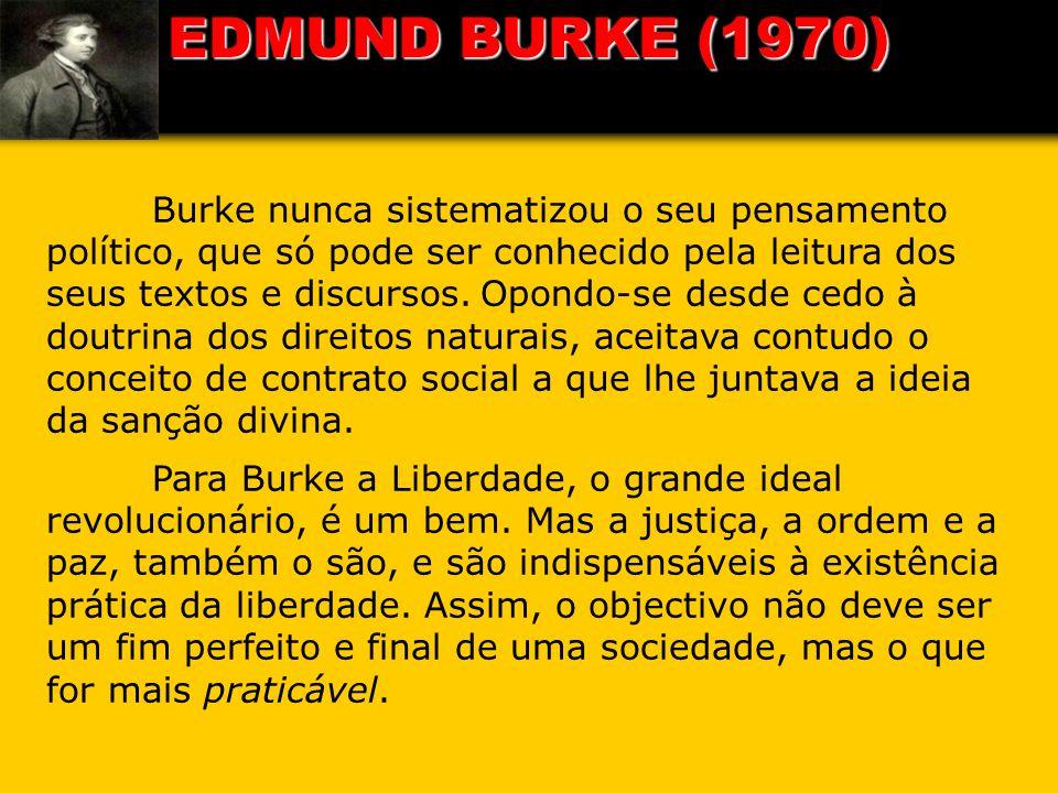 Burke nunca sistematizou o seu pensamento político, que só pode ser conhecido pela leitura dos seus textos e discursos. Opondo-se desde cedo à doutrin