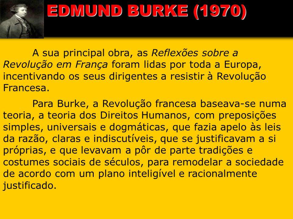 A sua principal obra, as Reflexões sobre a Revolução em França foram lidas por toda a Europa, incentivando os seus dirigentes a resistir à Revolução F