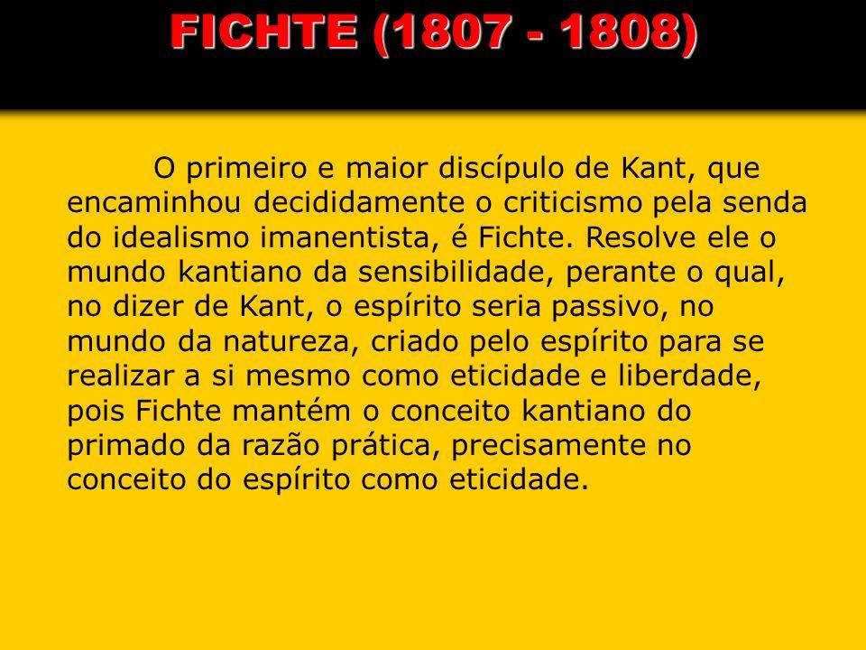 FICHTE (1807 - 1808) O primeiro e maior discípulo de Kant, que encaminhou decididamente o criticismo pela senda do idealismo imanentista, é Fichte. Re