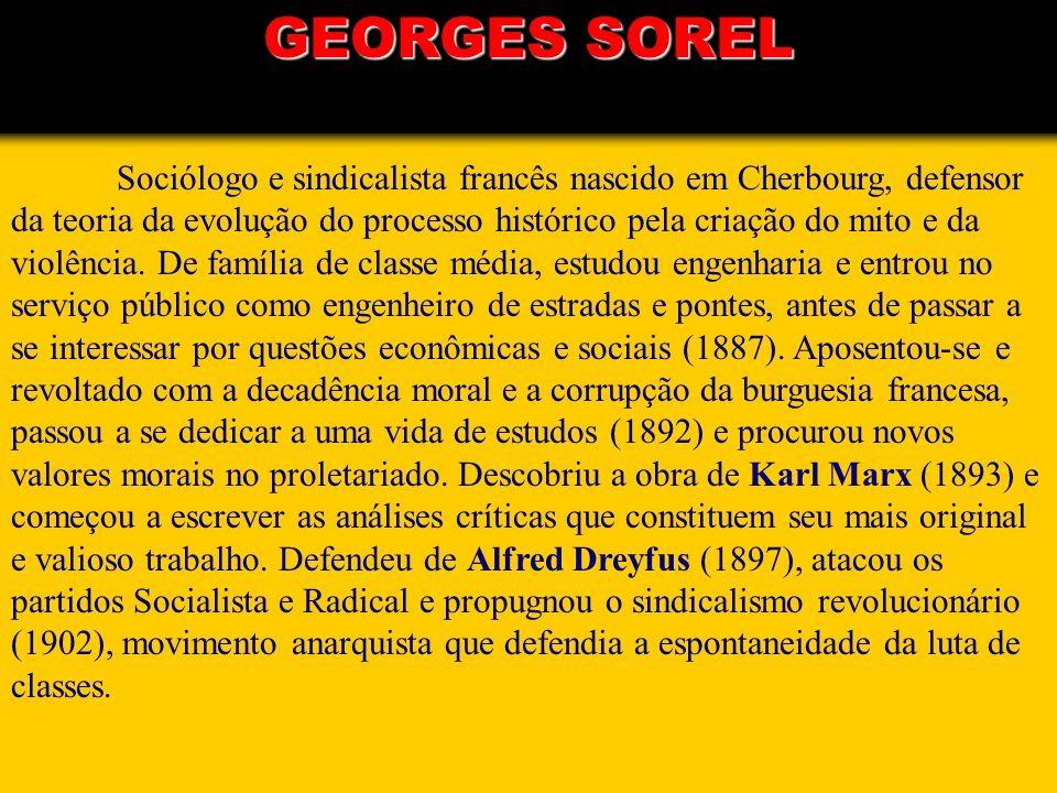 Sociólogo e sindicalista francês nascido em Cherbourg, defensor da teoria da evolução do processo histórico pela criação do mito e da violência. De fa