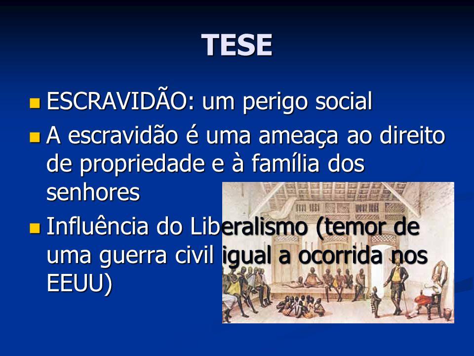 TESE ESCRAVIDÃO: um perigo social ESCRAVIDÃO: um perigo social A escravidão é uma ameaça ao direito de propriedade e à família dos senhores A escravid