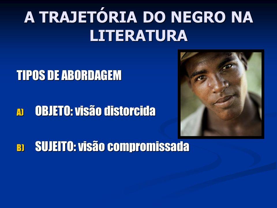 A TRAJETÓRIA DO NEGRO NA LITERATURA TIPOS DE ABORDAGEM A) OBJETO: visão distorcida B) SUJEITO: visão compromissada