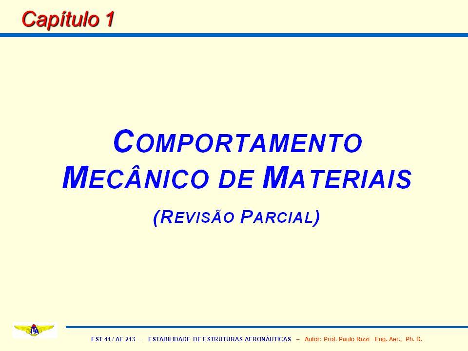 EST 41 / AE 213 - ESTABILIDADE DE ESTRUTURAS AERONÁUTICAS – Autor: Prof. Paulo Rizzi - Eng. Aer., Ph. D. Capítulo 1