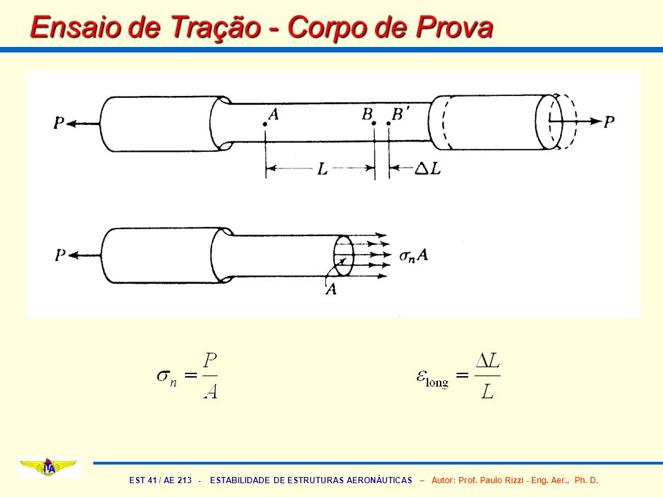 EST 41 / AE 213 - ESTABILIDADE DE ESTRUTURAS AERONÁUTICAS – Autor: Prof. Paulo Rizzi - Eng. Aer., Ph. D. Ensaio de Tração - Corpo de Prova