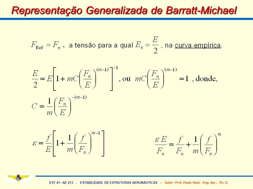 EST 41 / AE 213 - ESTABILIDADE DE ESTRUTURAS AERONÁUTICAS – Autor: Prof. Paulo Rizzi - Eng. Aer., Ph. D. Representação Generalizada de Barratt-Michael