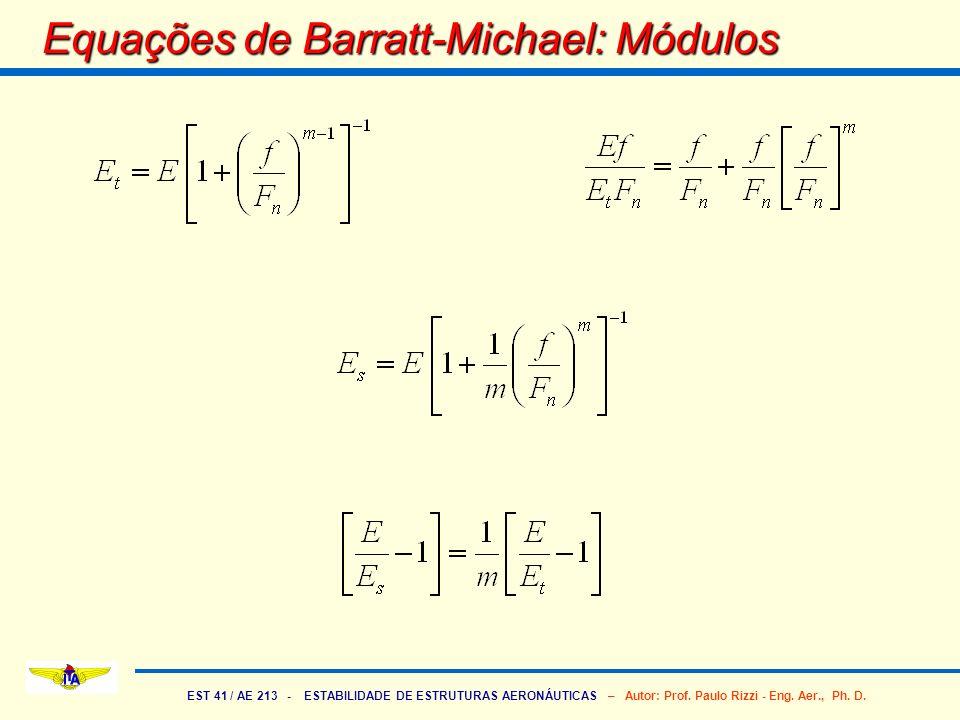 EST 41 / AE 213 - ESTABILIDADE DE ESTRUTURAS AERONÁUTICAS – Autor: Prof. Paulo Rizzi - Eng. Aer., Ph. D. Equações de Barratt-Michael: Módulos