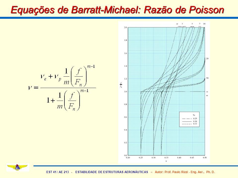 EST 41 / AE 213 - ESTABILIDADE DE ESTRUTURAS AERONÁUTICAS – Autor: Prof. Paulo Rizzi - Eng. Aer., Ph. D. Equações de Barratt-Michael: Razão de Poisson