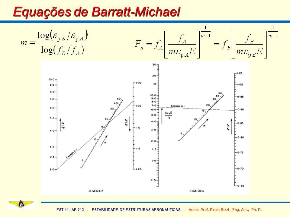 EST 41 / AE 213 - ESTABILIDADE DE ESTRUTURAS AERONÁUTICAS – Autor: Prof. Paulo Rizzi - Eng. Aer., Ph. D. Equações de Barratt-Michael