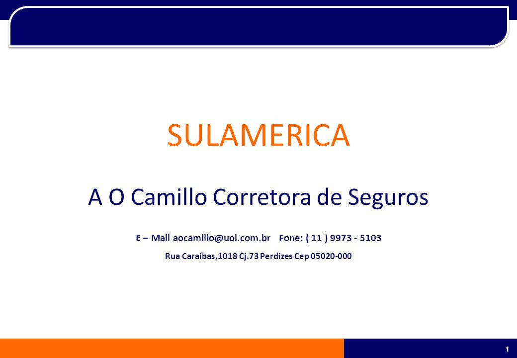 1 1 SULAMERICA A O Camillo Corretora de Seguros E – Mail aocamillo@uol.com.br Fone: ( 11 ) 9973 - 5103 Rua Caraíbas,1018 Cj.73 Perdizes Cep 05020-000