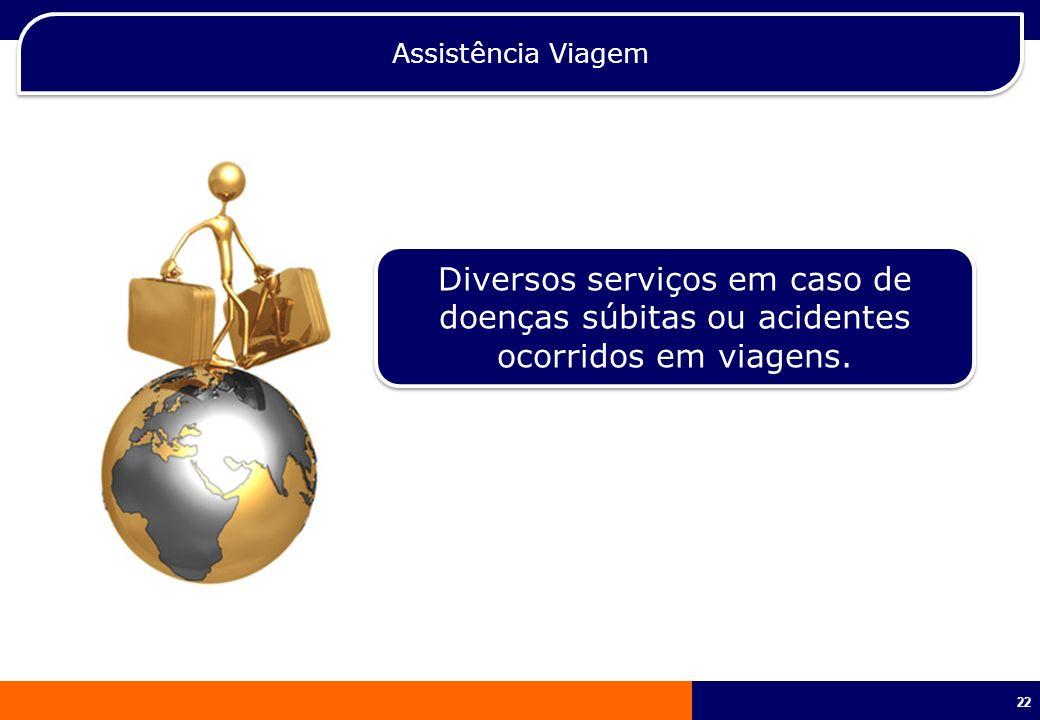 22 Assistência Viagem Diversos serviços em caso de doenças súbitas ou acidentes ocorridos em viagens.