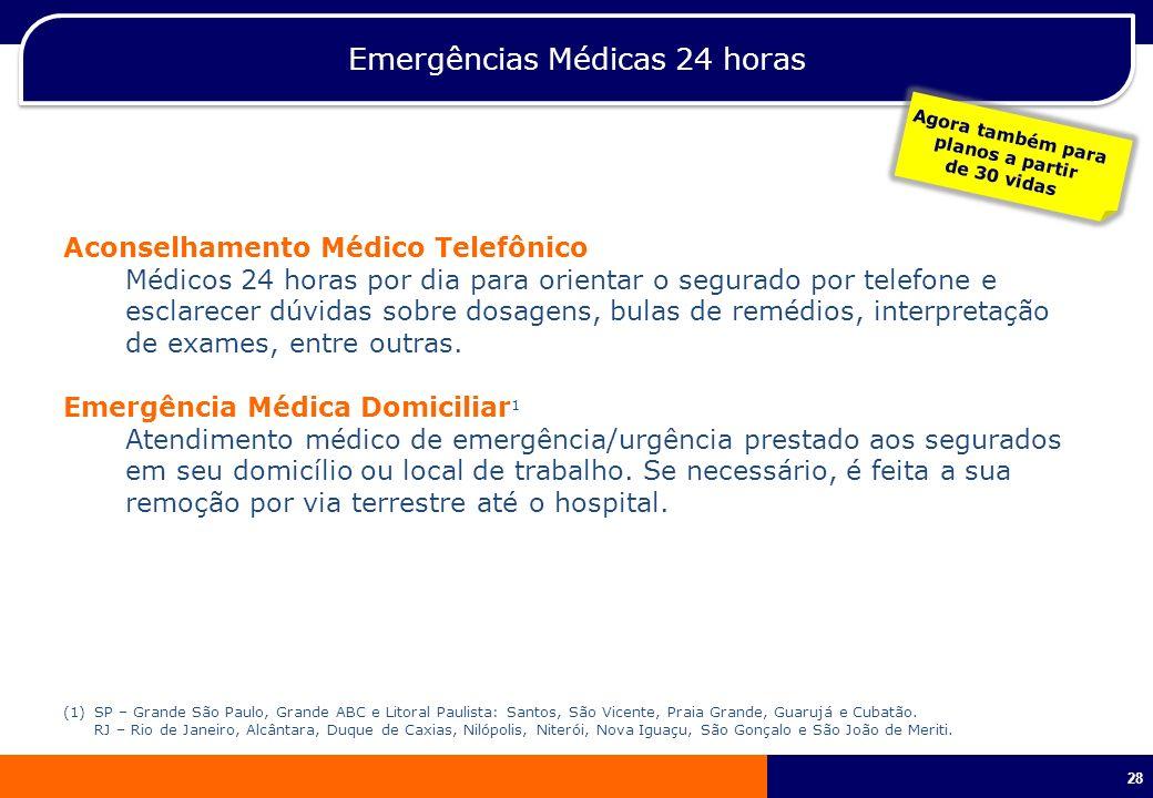 28 Emergências Médicas 24 horas Aconselhamento Médico Telefônico Médicos 24 horas por dia para orientar o segurado por telefone e esclarecer dúvidas s