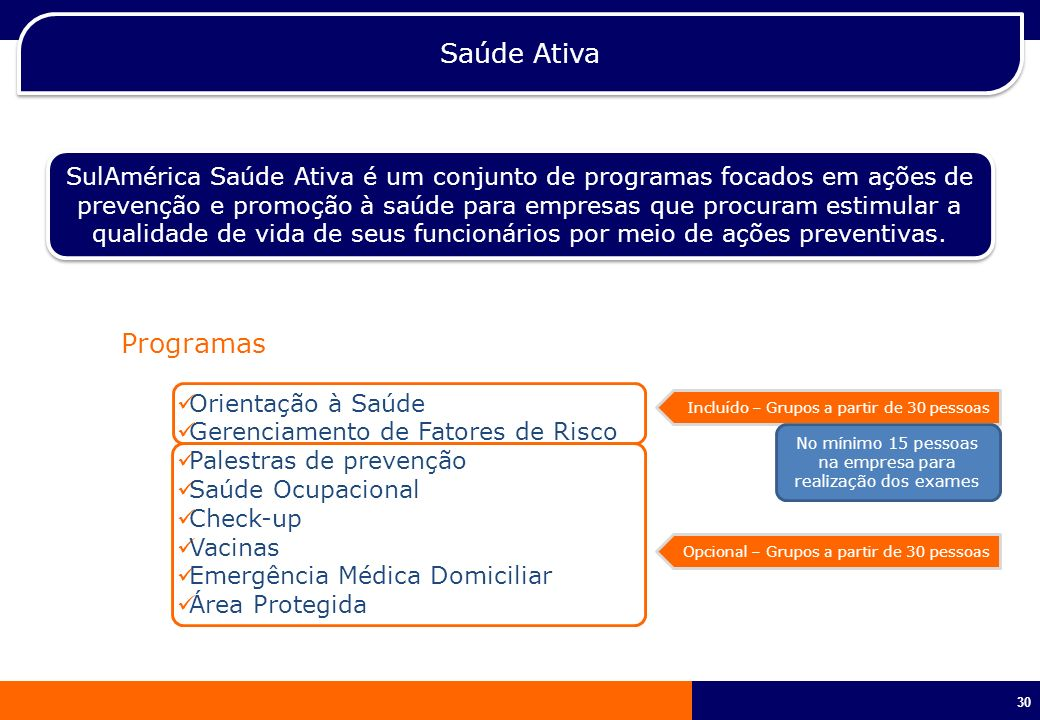 30 Saúde Ativa SulAmérica Saúde Ativa é um conjunto de programas focados em ações de prevenção e promoção à saúde para empresas que procuram estimular
