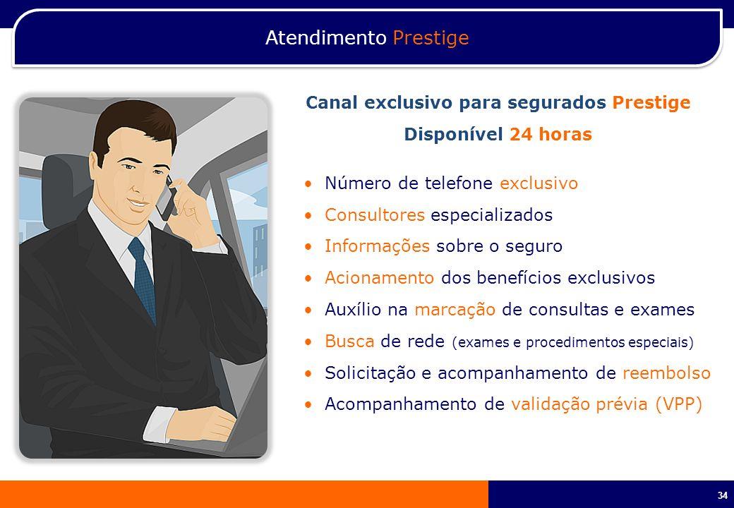 34 Atendimento Prestige Número de telefone exclusivo Consultores especializados Informações sobre o seguro Acionamento dos benefícios exclusivos Auxíl