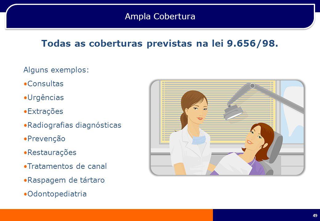 49 Ampla Cobertura Todas as coberturas previstas na lei 9.656/98. Alguns exemplos: Consultas Urgências Extrações Radiografias diagnósticas Prevenção R