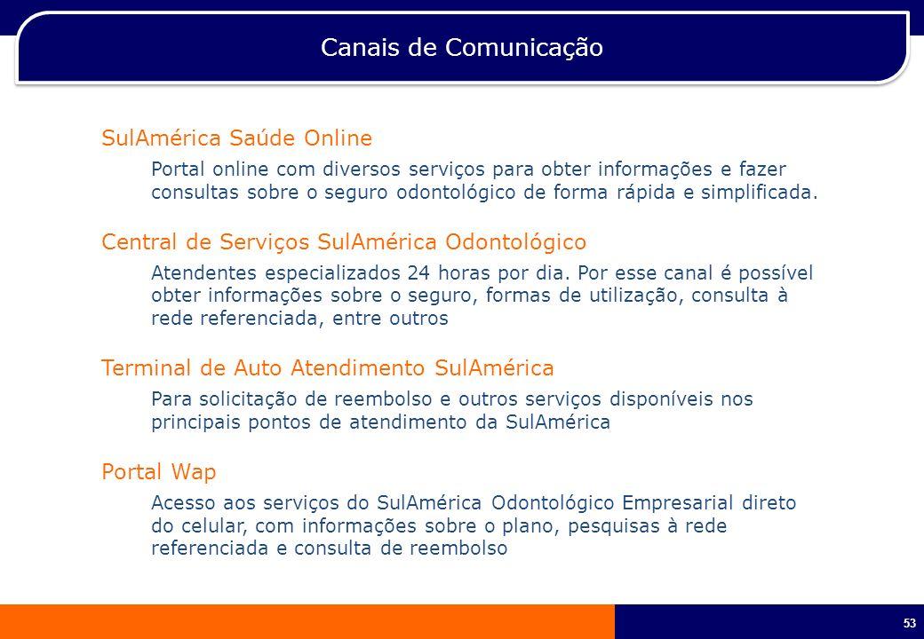 53 Canais de Comunicação SulAmérica Saúde Online Portal online com diversos serviços para obter informações e fazer consultas sobre o seguro odontológ