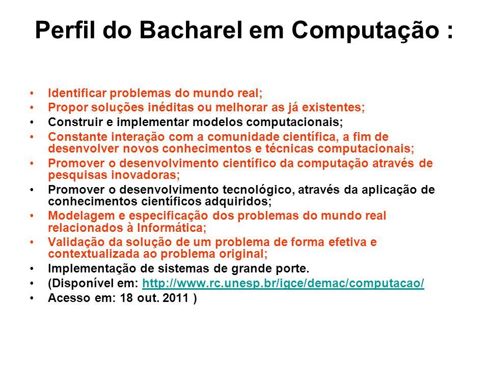 Perfil do Bacharel em Computação : Identificar problemas do mundo real; Propor soluções inéditas ou melhorar as já existentes; Construir e implementar