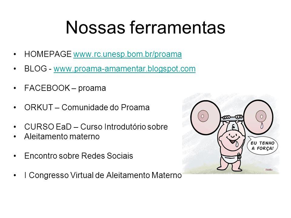Nossas ferramentas HOMEPAGE www.rc.unesp.bom.br/proamawww.rc.unesp.bom.br/proama BLOG - www.proama-amamentar.blogspot.comwww.proama-amamentar.blogspot