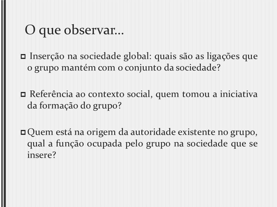 O que observar… Inserção na sociedade global: quais são as ligações que o grupo mantém com o conjunto da sociedade? Referência ao contexto social, que