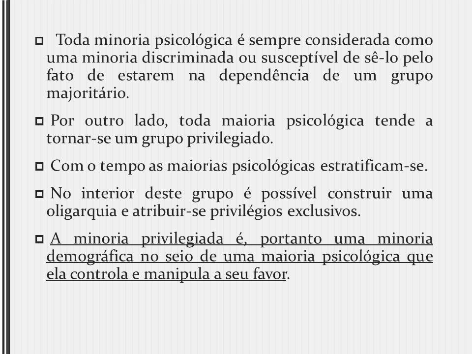 Toda minoria psicológica é sempre considerada como uma minoria discriminada ou susceptível de sê-lo pelo fato de estarem na dependência de um grupo ma