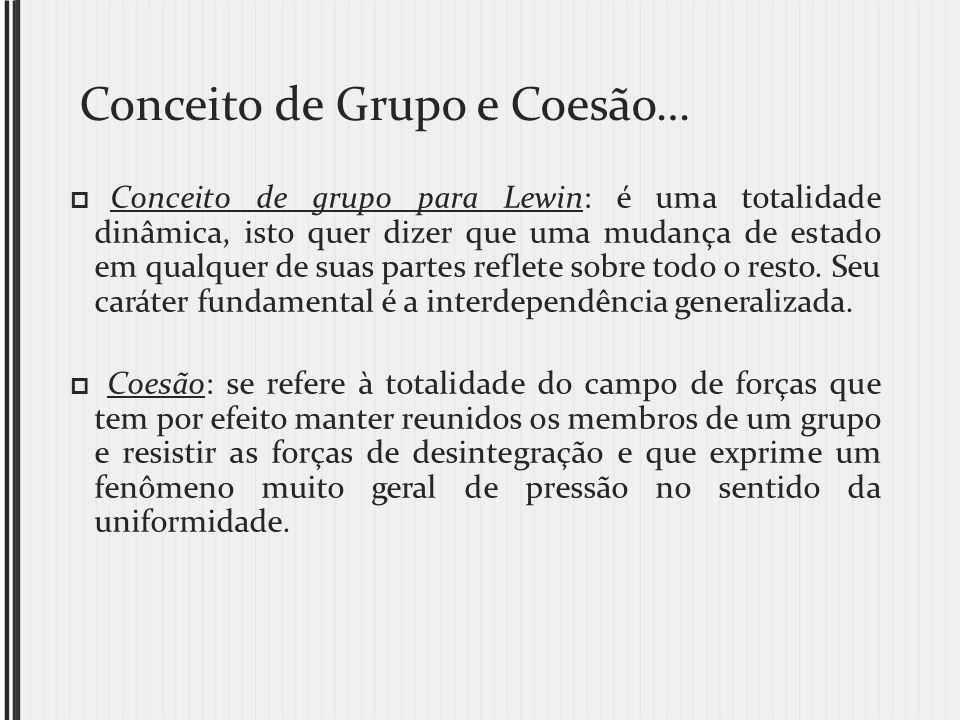 Conceito de Grupo e Coesão… Conceito de grupo para Lewin: é uma totalidade dinâmica, isto quer dizer que uma mudança de estado em qualquer de suas par