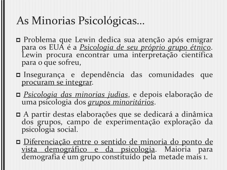 As Minorias Psicológicas… Problema que Lewin dedica sua atenção após emigrar para os EUA é a Psicologia de seu próprio grupo étnico. Lewin procura enc