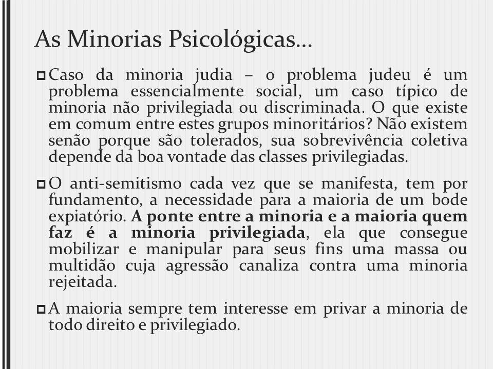 As Minorias Psicológicas… Caso da minoria judia – o problema judeu é um problema essencialmente social, um caso típico de minoria não privilegiada ou