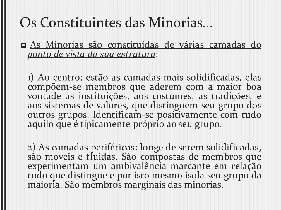 Os Constituintes das Minorias… As Minorias são constituídas de várias camadas do ponto de vista da sua estrutura: 1) Ao centro: estão as camadas mais