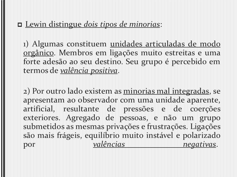 Lewin distingue dois tipos de minorias: 1) Algumas constituem unidades articuladas de modo orgânico. Membros em ligações muito estreitas e uma forte a
