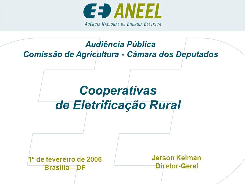 Cooperativas de Eletrificação Rural 1º de fevereiro de 2006 Brasília – DF Jerson Kelman Diretor-Geral Audiência Pública Comissão de Agricultura - Câma