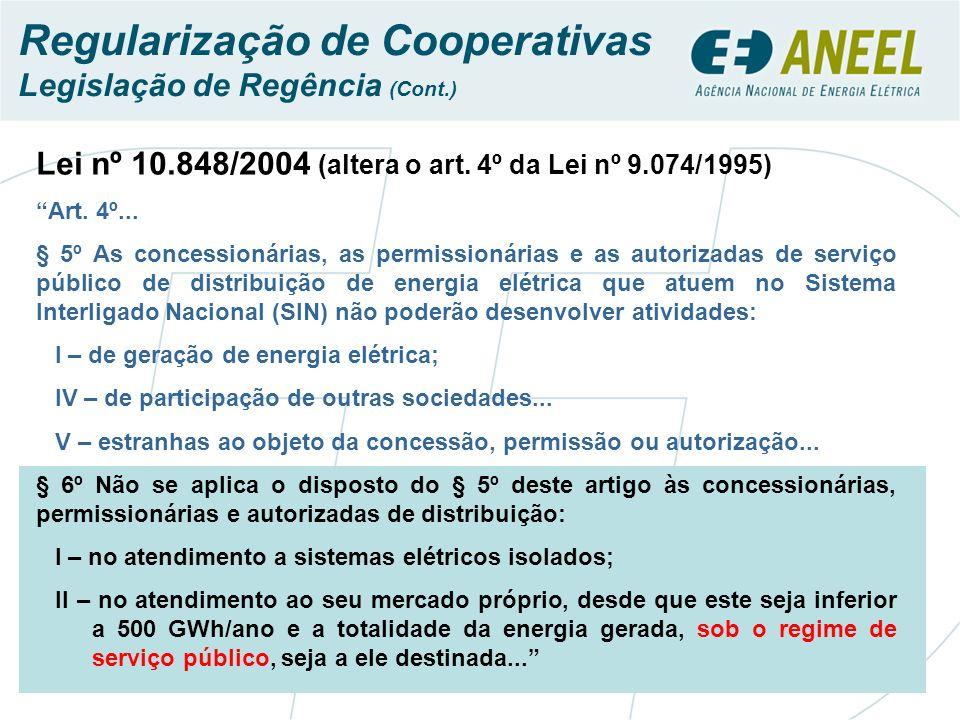 Lei nº 10.848/2004 (altera o art. 4º da Lei nº 9.074/1995) Art. 4º... § 5º As concessionárias, as permissionárias e as autorizadas de serviço público