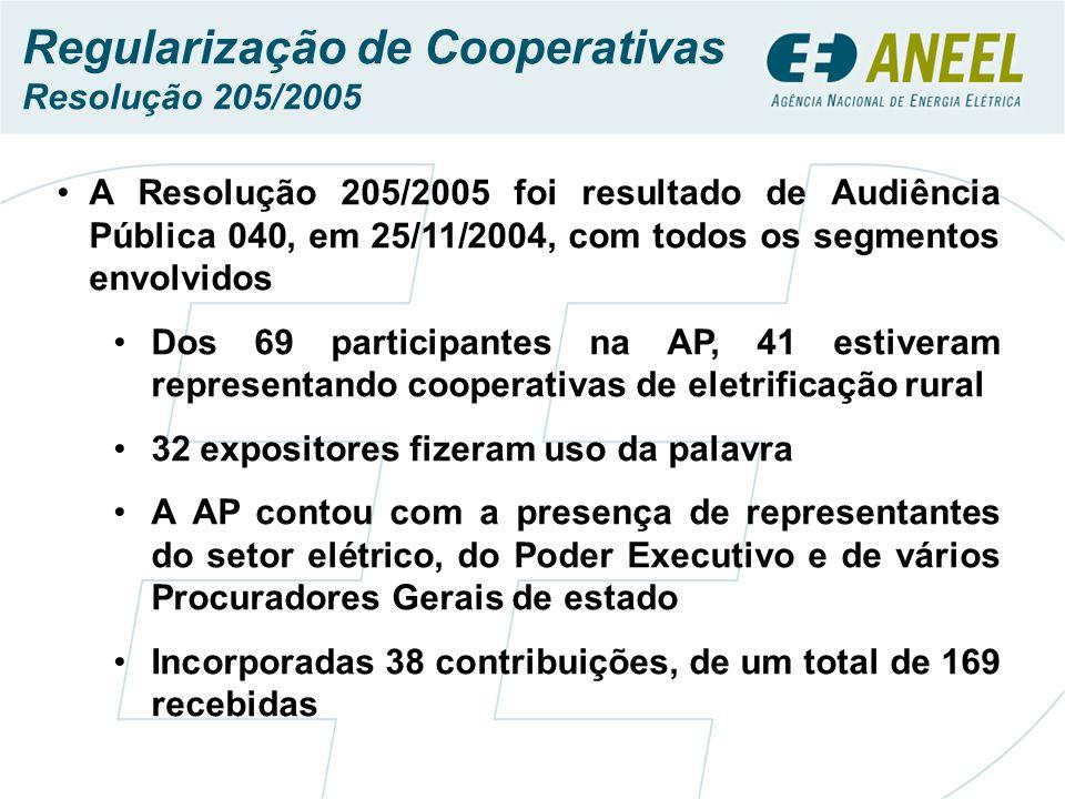 A Resolução 205/2005 foi resultado de Audiência Pública 040, em 25/11/2004, com todos os segmentos envolvidos Dos 69 participantes na AP, 41 estiveram