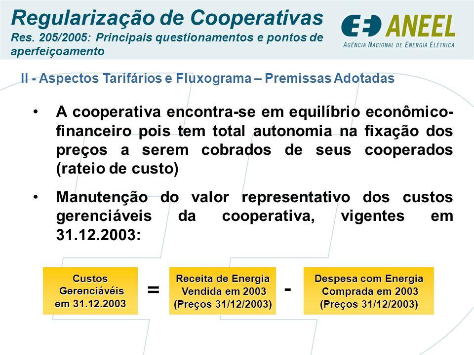 II - Aspectos Tarifários e Fluxograma – Premissas Adotadas A cooperativa encontra-se em equilíbrio econômico- financeiro pois tem total autonomia na f