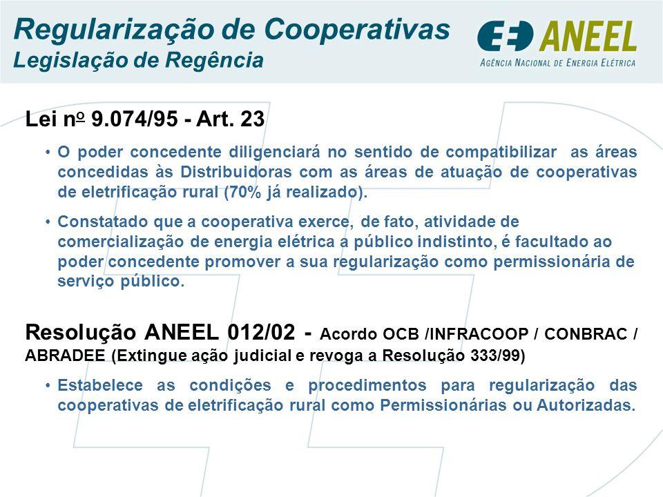 Lei n o 9.074/95 - Art. 23 O poder concedente diligenciará no sentido de compatibilizar as áreas concedidas às Distribuidoras com as áreas de atuação