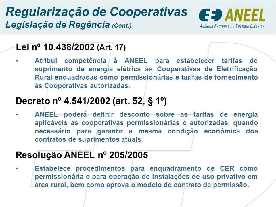 Lei nº 10.438/2002 (Art. 17) Atribui competência à ANEEL para estabelecer tarifas de suprimento de energia elétrica às Cooperativas de Eletrificação R