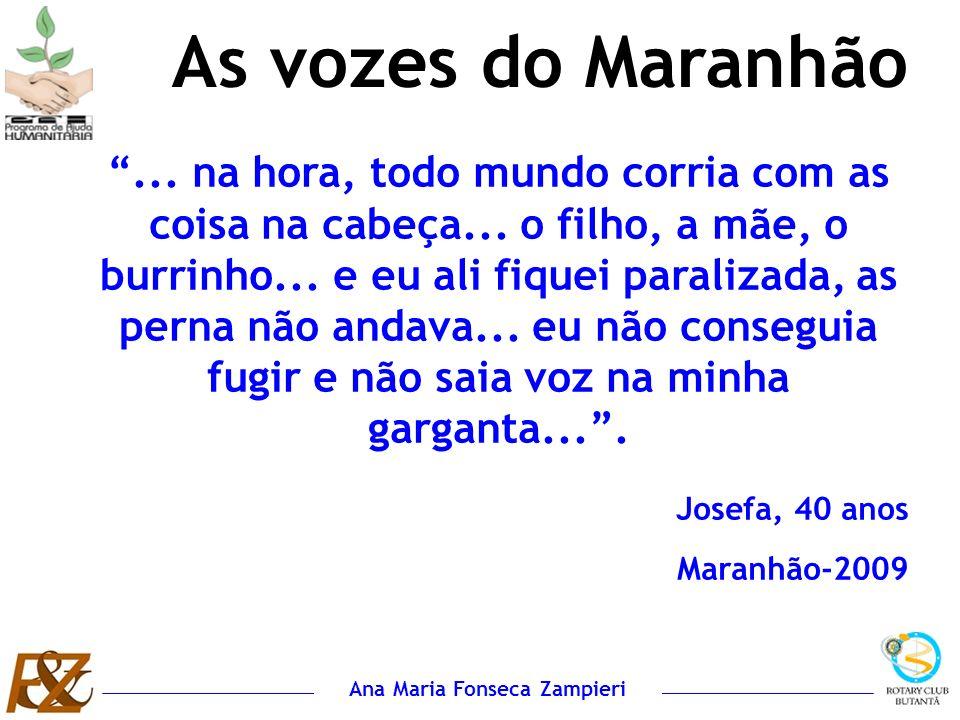 Ana Maria Fonseca Zampieri As vozes do Maranhão... na hora, todo mundo corria com as coisa na cabeça... o filho, a mãe, o burrinho... e eu ali fiquei