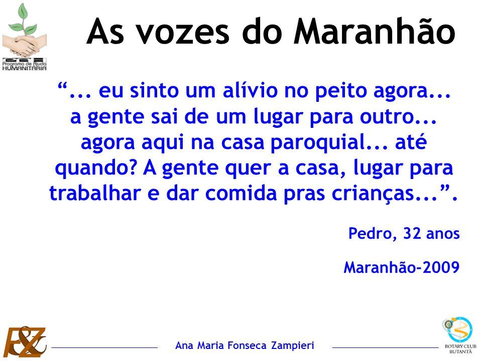 Ana Maria Fonseca Zampieri... eu sinto um alívio no peito agora... a gente sai de um lugar para outro... agora aqui na casa paroquial... até quando? A