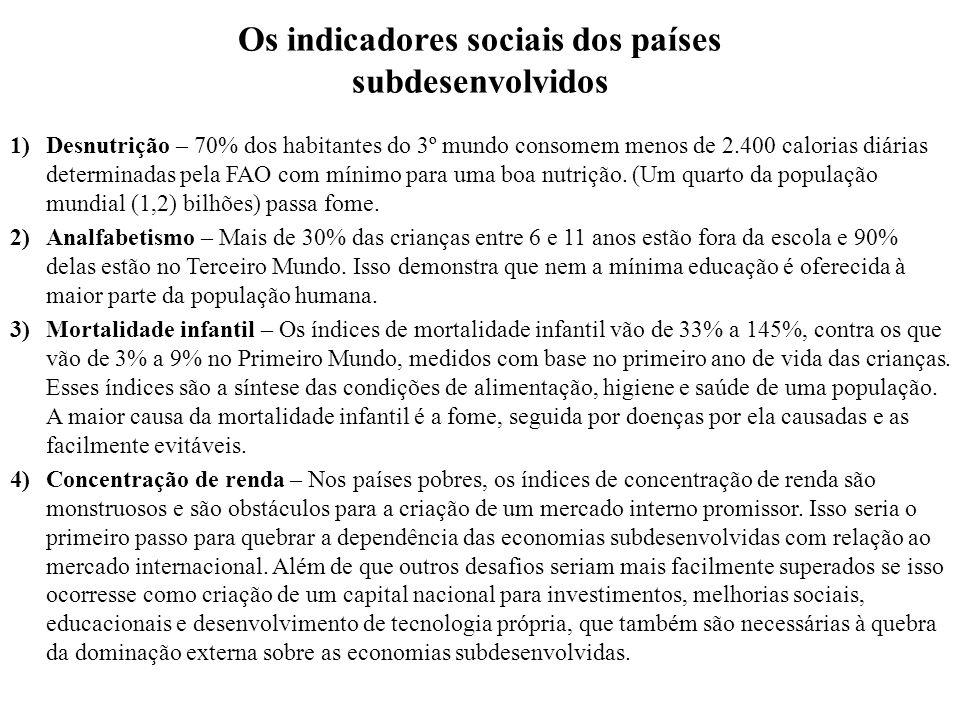 Os indicadores sociais dos países subdesenvolvidos 1)Desnutrição – 70% dos habitantes do 3º mundo consomem menos de 2.400 calorias diárias determinada