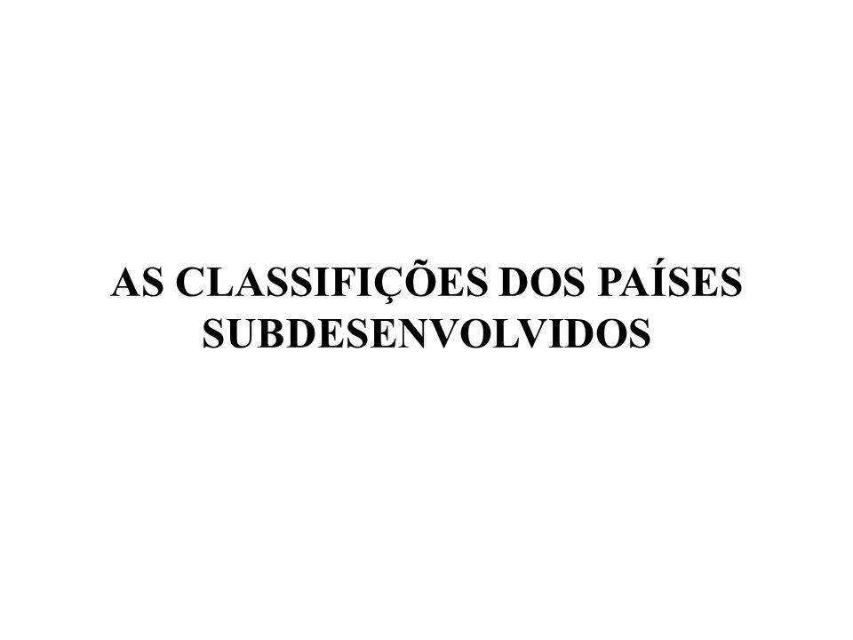 AS CLASSIFIÇÕES DOS PAÍSES SUBDESENVOLVIDOS